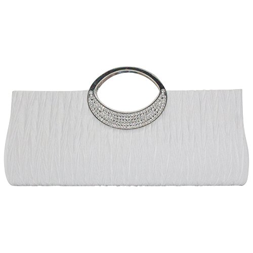 wocharm Wonderful Ladies Silver Black Formal Wedding Evening Clutch Bag Glittery Diamante Handbag White