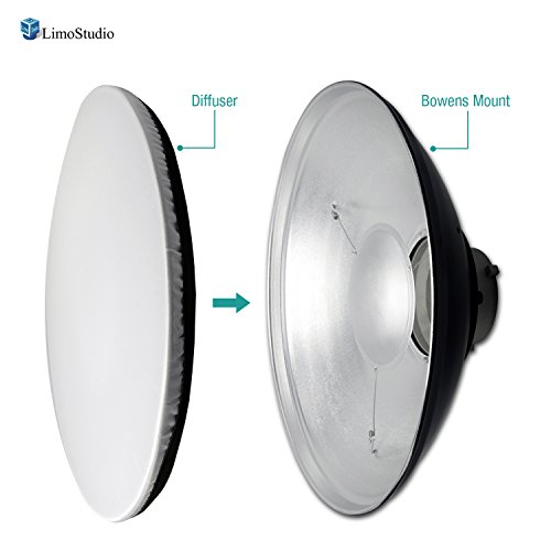LimoStudio 16-inch Diameter Aluminum Reflector Dish with White Diffuser Cover for Bowens Mount Strobe Flash Lights, Photography Studio, AGG2566 by LimoStudio
