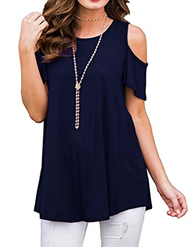 50a51577529d BABAKUD Womens T Shirt Cold Shoulder Tunic Tops Short Sleeve Shirts Casual  Summer Blouse