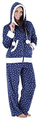 Frankie & Johnny Women's Sleepwear Fleece 2-Piece Zip Hoodie and Pant Pajamas PJ Set, Triangles (FJ1145-1087-LRG)