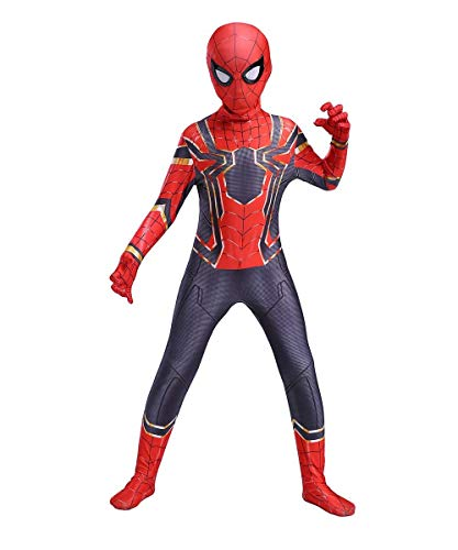 UTUMR The Spider-Verse Kids Bodysuit Spiderman Superhero Costumes Lycra Spandex Halloween Cosplay Costumes (L/130-140cm) Red