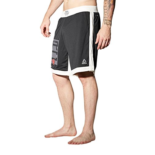 Reebok Men's Combat Boxing Shorts Black (Reebok Elastic Waist Shorts)