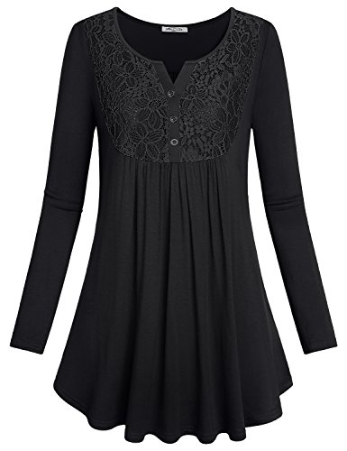 SeSe Code Lace Tunic, Ladies Tops Long Sleeve Shirt Vintage V Neck Button Down Swing Regular Ruffle Relaxed Fit Layering Preppy Casual Blouse Black - Vintage Preppy