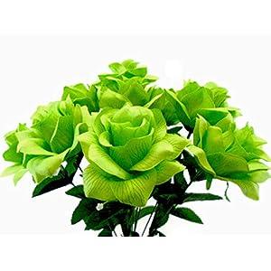 """Open Rose Bush 12 Artificial Silk Flowers 18"""" Bouquet 3432 Apple Green 32"""