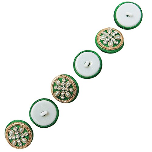 - Fabric Covered Button Designer Dress Sewing Rhinestone Round Button India 5 Pieces