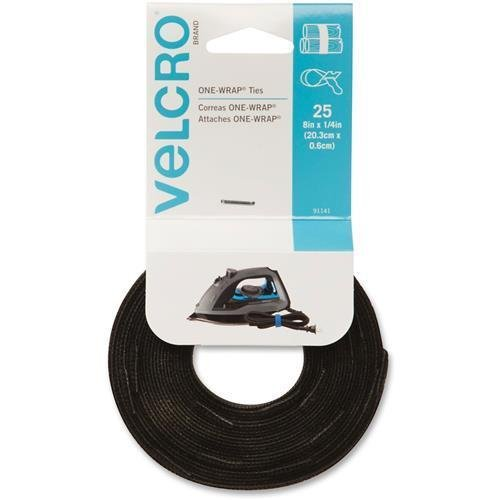 e Self-Gripping Cable Ties - Tie - Black - 25 Pack (25pk Velcro Cable Tie Wrap)