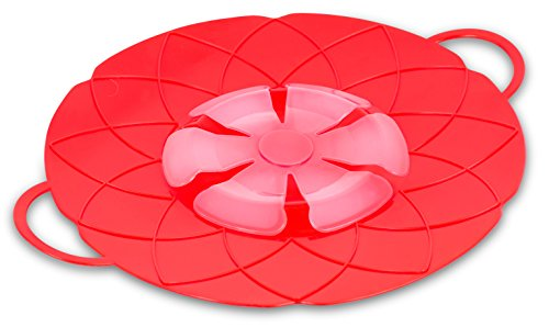 Internet's Best Silicone Spill Stopper - Boil Over Guard Lid - Pots and Pan Splash Protector - Kitchen Cooking Splatter Screen - Red