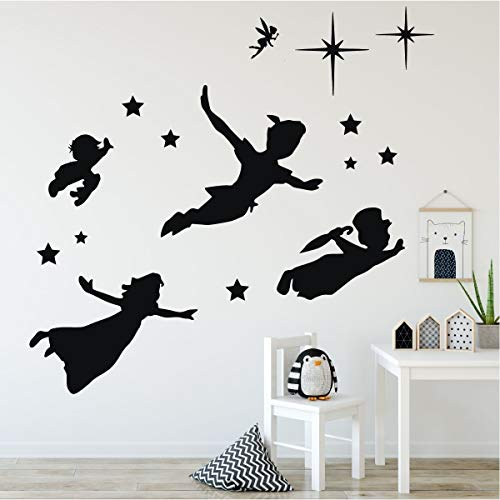 Children's Room Wall Decor - Peter Pan Scene Silhouettes - Characters Only - Themed Room Vinyl Art Stickers for Kids Room, Playroom, Boys Room, Girls Room