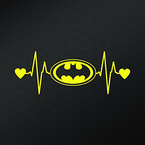 Batman Bat Signal Heartbeat Vinyl Decal Sticker | Cars Truck