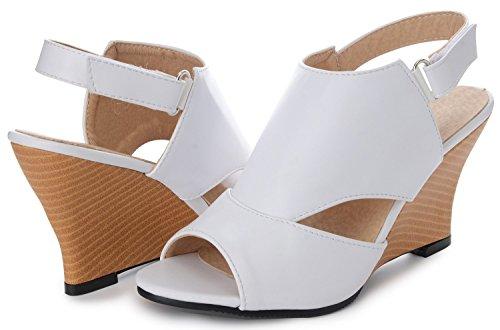 Odema mujeres verano sexy peep toe Chunky tacon alto sandalias de correa de las bombas blanco