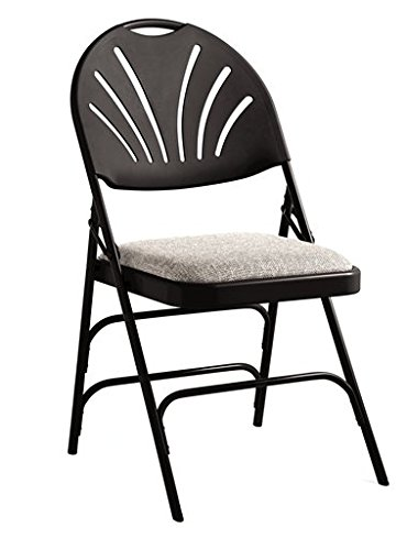 (Samsonite XL Series Folding Chair (4-Pack) Black/Gray Commercial Grade Fanback Design, Padded Steel & Fabric Seat)