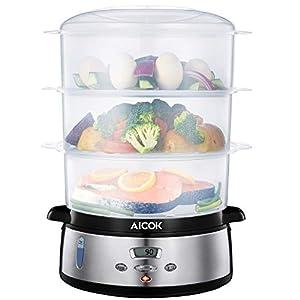 Aicok Cuiseur Vapeur LCD Minuteur Numérique 9L 800W avec 3 Paniers Vapeurs 100% Sans BPA, Cuiseur pour Riz, Légumes, Viande, Oeuf et Poisson, Inox