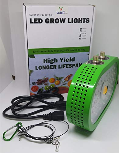 COB LED Grow Light Dimmable Adjustable Full Spectrum IR UV Panel Lamps for Greenhouse Indoor Hydroponics Plants Micro Greens Clones Succulent Seedling Germination (1100W)