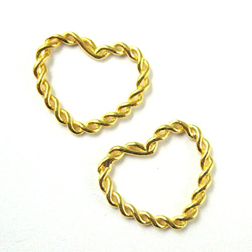Gold Vermeil Heart Link - 22K Gold plated 925 Sterling Silver Charm- Twisted Heart Ring - Vermeil Twist Connector Ring - Heart Connector- Gold Links-(11.5mm-3 pcs)