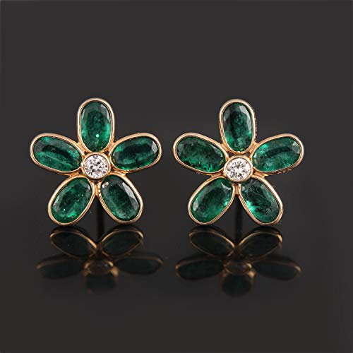 Diamond Floral Shapes Earrings - Genuine 2.25 Ct Emerald Gemstone Floral Shape Diamond Earrings Solid 18k Yellow Gold Handmade Fine Jewelry