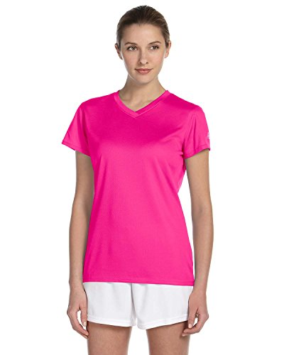 New Balance Ndurance Ladies' Athletic V-Neck T-Shirt, Sfty Pink, Large - New Jersey Womens Pink T-shirt