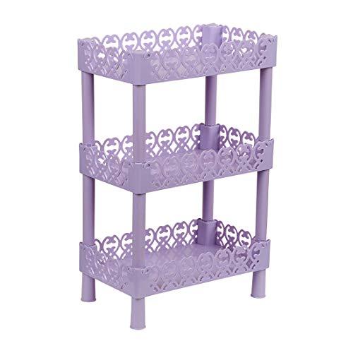 uxcell Plastic Small 3 Layers Storage Shelves Shower Shelf, Basket Desk Stand Rack Bathroom Shelves for Home Household Kitchen Purple Rectangle (Purple Bookshelf)