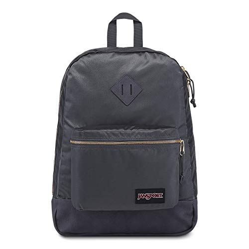 JanSport Super FX Backpack – Trendy School Pack With A Unique Textured Surface, Deep Grey Gold Premium Poly