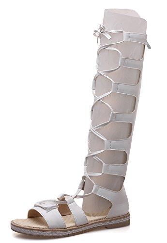 Tige Sandales Haute Femme Blanc Mode Ajourer Lacée Aisun Plage Bottes wq6BfR