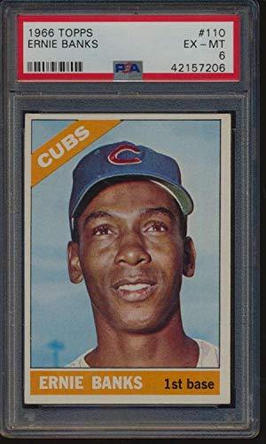 #110 Ernie Banks HOF - 1966 Topps Baseball Cards Graded PSA 6 - Baseball Slabbed Autographed Vintage Cards