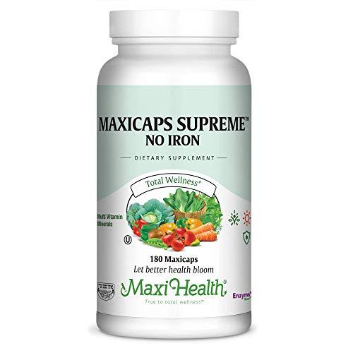 Maxi Health Maxicaps Supreme - No Iron - Multivitamins & Minerals - 180 Capsules - Kosher