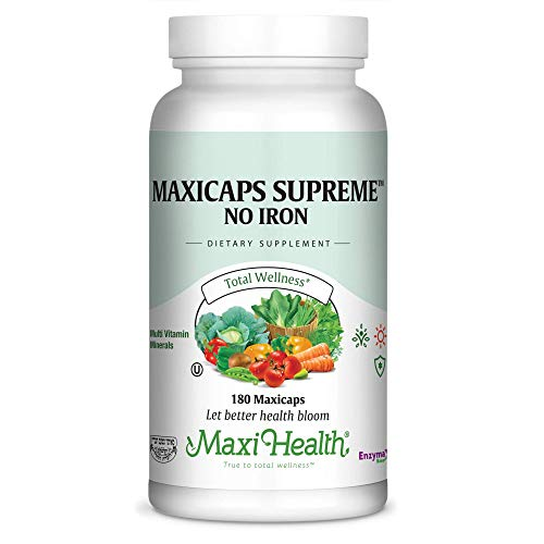 Maxi Health Maxicaps Supreme – No Iron – Multivitamins Minerals – 180 Capsules – Kosher