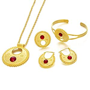 Ethlyn Jewelry 24KGP Ethiopian Habesha Jewelry Sets Eritrean Wedding Party Items (Red)