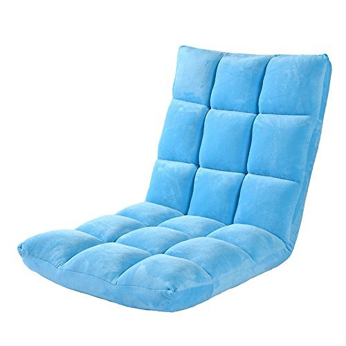Do4U Home Adjustable Folding Lazy Sofa Six-Position Relax Floor Chair & Gaming Chair -Floor Cushion Multiangle Couch Beds for Watch TV/Gaming/Midday Rest/Nap (Lazy Sofa, Light Blue)