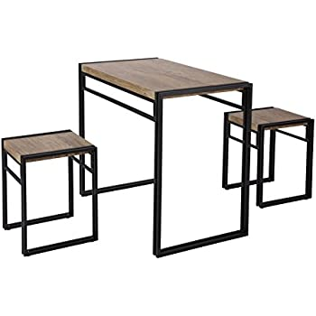 FIVEGIVEN 3 Piece Dining Bistro Table Set Indoor Kitchen Pub Table Set for Small Spaces Sonoma  sc 1 st  Amazon.com & Amazon.com - FIVEGIVEN 3 Piece Dining Bistro Table Set Indoor ...