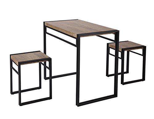 FIVEGIVEN 3 Piece Dining Bistro Table Set Indoor Kitchen Pub Table Set for Small Spaces Sonoma Oak (Breakfast Pub Table)