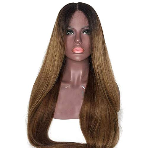(Brown Color Lace Front Human Hair Wigs with Baby Hair Pre-Plucked Hairline Remy Brazilian Hair,12inches)