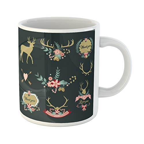 (Semtomn Funny Coffee Mug Deer Antlers Flowers and Floral Clipart Thank You Love 11 Oz Ceramic Coffee Mugs Tea Cup Best Gift Or)