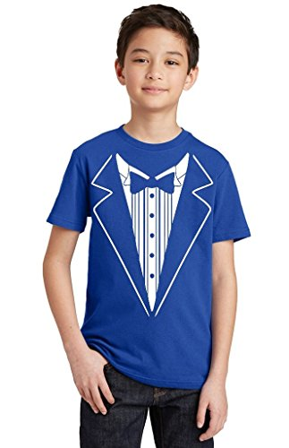 P&B Tuxedo White Funny Youth T-Shirt, Youth S, Royal