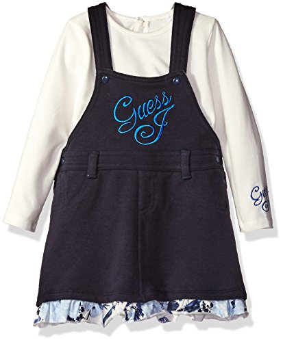 GUESS Baby Girls' Bodysuit and Overall Dress Set, Ink Blue, 3/6 ()