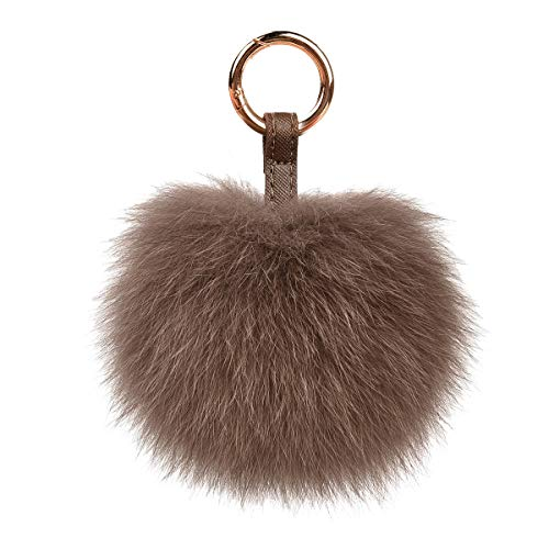 Genuine Fox Fur Pom Pom Keychain Bag Purse Charm large Fluffy Fur Ball Keychains