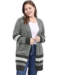 Agnes Orinda Women's Plus Size Striped Open Front Sweater Cardigan