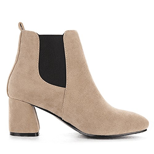 Elastic QZUnique with Martin Slip Beige Surface Panel Suede Toe Pointy Women Heel Booties Chunky Boots Ankle a0waTq8R