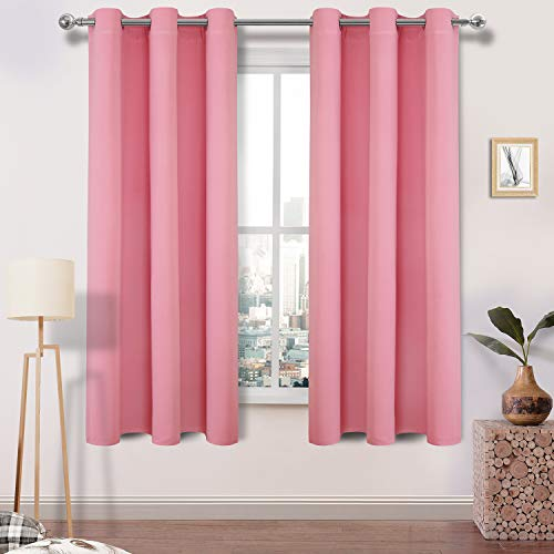 (DWCN Blackout Curtains Room Darkening Thermal Insulated Light Blocking Window Curtains for Bedroom Girl's Room 42 x 63 inches Long, 1 Pink Thick Panel )