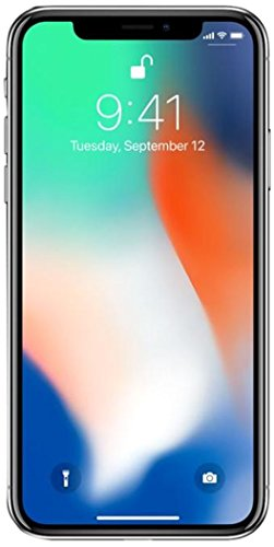 Apple iPhone X, Fully Unlocked, 256GB - Silver (Renewed)
