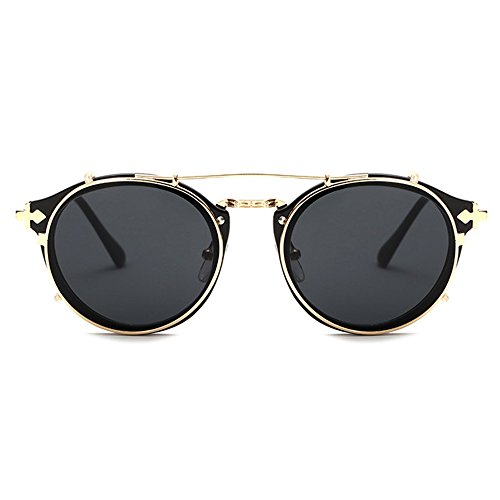 TIJN Stylish Steampunk Circle Clip Sunglasses Celebrity Style - Sunglass Stylish