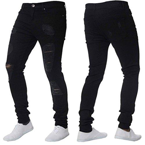 Rambling Men's Ripped Slim Straight Biker Skinny Stretch Jeans Trousers