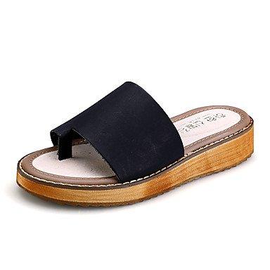 Women'szapatos de tac¨®n plano PU Confort / Round Toe sandalias vestido Negro / Blanco US8.5 / EU39 / UK6.5 / CN40