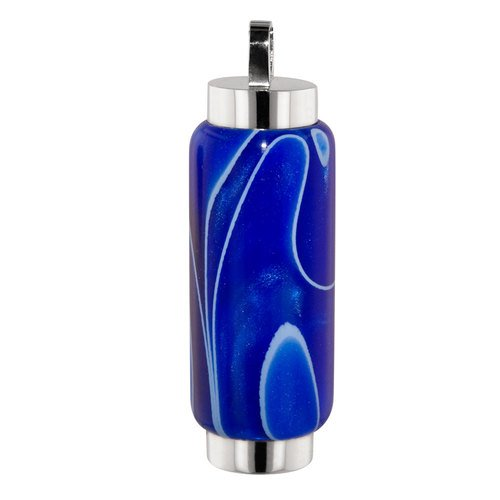 Perfect Memorials Blue Ripples Cylinder Memorial Jewelry