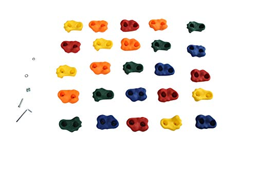Milliard DIY Rock Climbing Holds Set with 8 Foot Knotted Rope (25 Pc. Kit) Fun, Assorted Kid Friendly Foot and Hand Grip Steps | Indoor and Outdoor Play Set Use | Incl. Mounting Screws and Hooks.