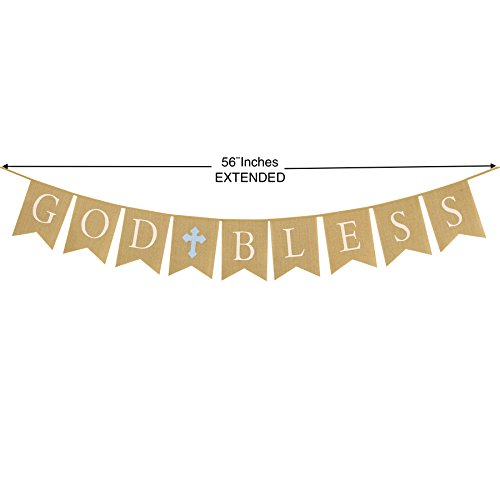 Communion Party Banner, Baptism Christening Decoration, God Bless Banner Blue Cross, Large Size 56'', Premium Burlap Material (Blue) by Professionale