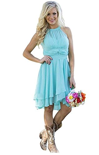 XingMeng A Halter Homecoming Short Prom Bridesmaid Chiffon Line Blue Dresses rqpxrawS