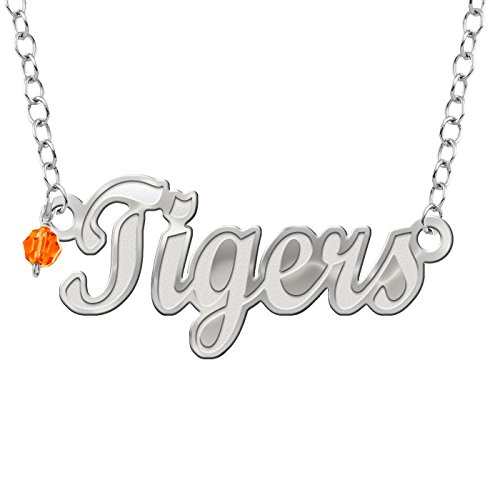 (Collegiate Jewelry Clemson University Tigers Script Necklace with Color Crystal Accent)