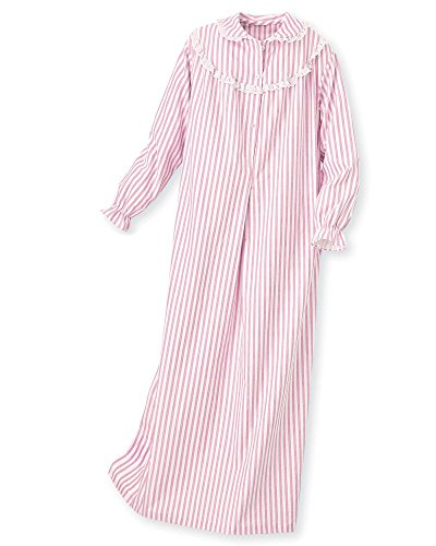 National Striped Flannel Nightgown, Pink, Large - Misses