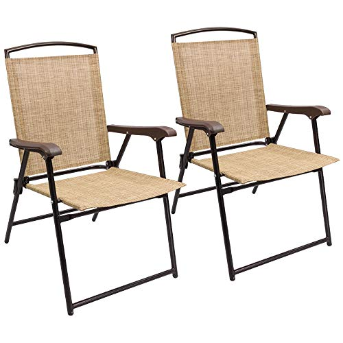Fabric Outdoor Folding Chair - Devoko Patio Folding Chair Deck Sling Back Chair Camping Garden Pool Beach Using Chairs Space Saving Set of 2 (Beige)