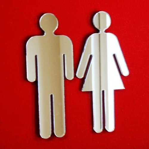 Amazon.com: Male & Female baño Cartel para puerta Espejos ...